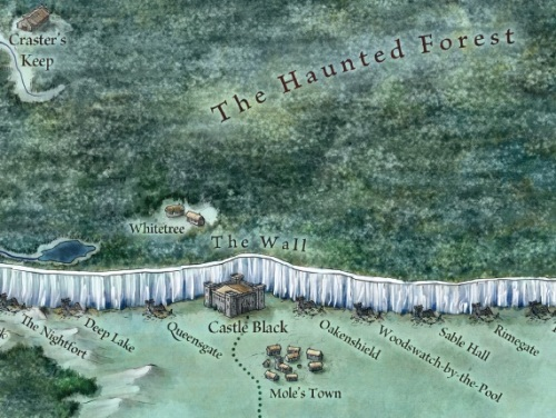 "No spoilers here: The land north of the Wall, from ""The Lands of Ice and Fire"" (Bantam)"