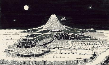 The dragon Smaug circles the Lonely Mountain; illustration by J.R.R. Tolkien