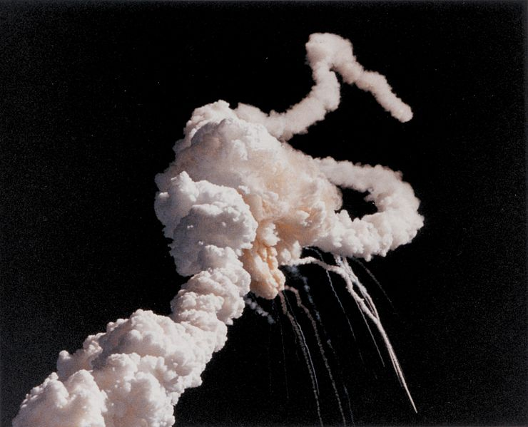 The explosion of the space shuttle Challenger on January 28, 1996. Photo credit: NASA