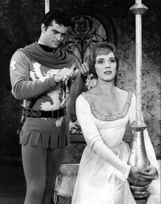 "'Twill never be forgot: Robert Goulet and Julie Andrews in ""Camelot."""