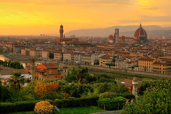 Florentine sunset: courtesy of http://www.flickr.com/people/sherseydc/