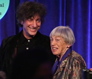 Neil Gaiman with Ursula Le Guin at the NBAs