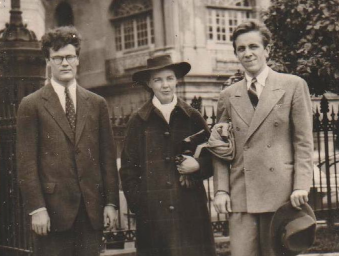 Robert Lowell (far left) with Jean Stafford and Peter Taylor at Kenyon College. (credit: cmacauly at English wikipedia)